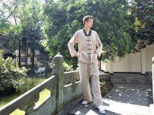 Load image into Gallery viewer, Beige Hemp and Linen Wudang V-Neck Tai Chi Suit with Brown Outerseam for Men and Women