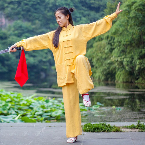 Yellow Hemp and Linen Wudang Tai Chi Uniform with Cuffs for Men and Women