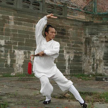 Load image into Gallery viewer, White Traditional Taoist Hemp and Linen Wudang Tai Chi Uniform Closed Cuffs for Men and Women