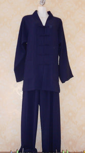 Navy Blue Hemp and Linen Wudang V-Collar Tai Chi Uniform with open Sleeves for Men and Women