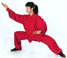Load image into Gallery viewer, Red Hemp and Linen Wudang Tai Chi Uniform with Cuffs for Men and Women