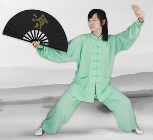 Mint Green Hemp and Linen Wudang Tai Chi Uniform with Cuffs for Men and Women