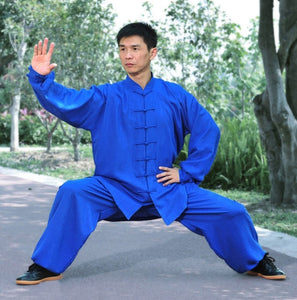 Marine Blue Hemp and Linen Wudang Tai Chi Uniform with Cuffs for Men and Women