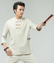 Load image into Gallery viewer, White Commoner Chinese Men Casual Han Chinese 3/4 Sleeve Shirt