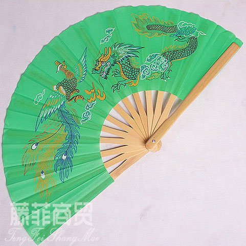 Tai Chi Fan Dragon & Phoenix Mint Green