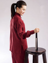 Load image into Gallery viewer, Burgundy Hemp and Linen Wudang Tai Chi Uniform with Cuffs for Men Women