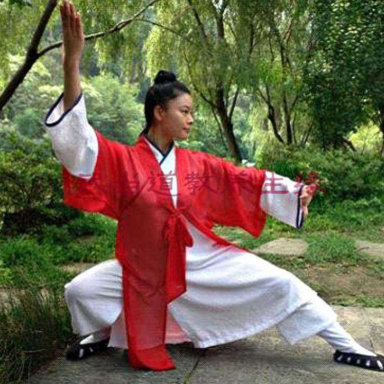 White Wudang Taoist Uniform with Black Outerseam and Red Overcoat Custom Made for Men and Women