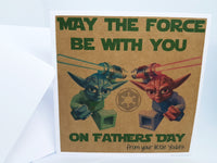 Father's Day Yoda Lego Star Wars Card Personalised