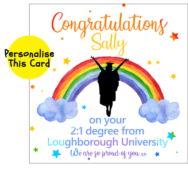 Silhouette Female Rainbow graduation, personalised