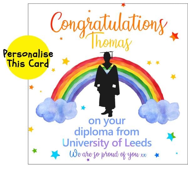 Copy of Silhouette Male Rainbow graduation, personalised