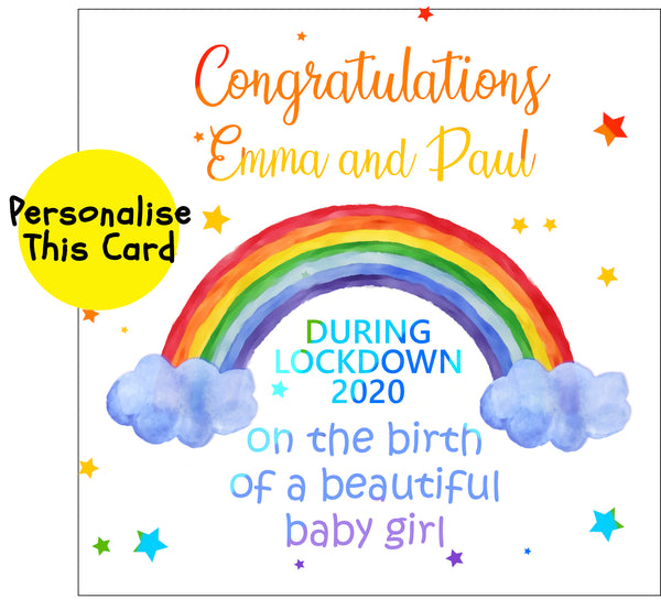 Rainbow New Baby - Personalised