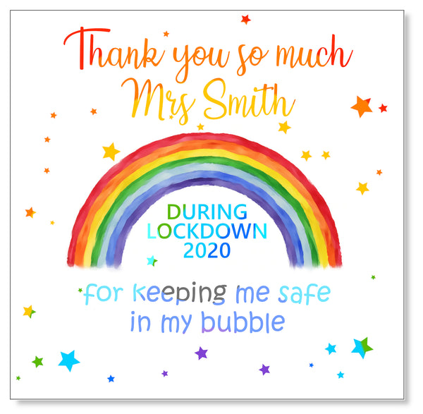 Rainbow Bubble Teacher Card - Personalised