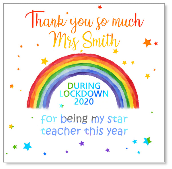 Rainbow star Teacher Card - Personalised