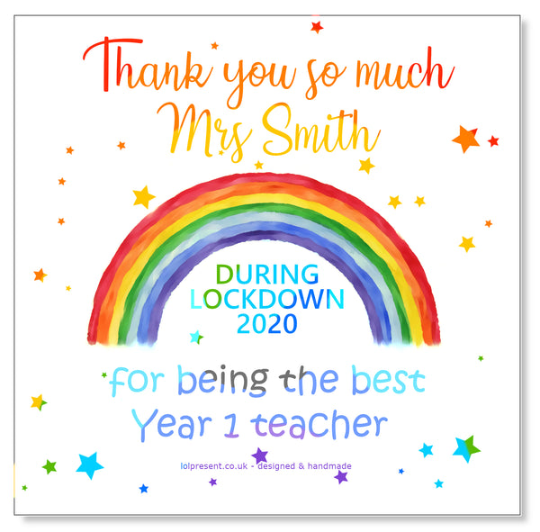 Rainbow Teacher Card - Personalised