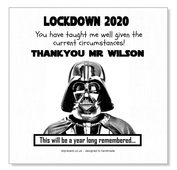 Darth Vader Thank you Teacher Card - Personalised