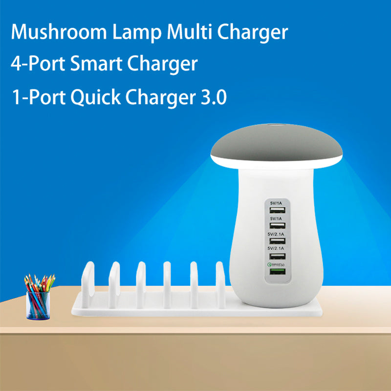 5 Port Quick Charging Mushroom Lamp Dock