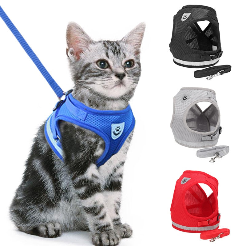 Reflective Cat Harness And Leash Set Nylon Mesh Kitten Puppy Dogs Vest Harness Leads Pet Clothes For Small Dogs Yorkies Pug