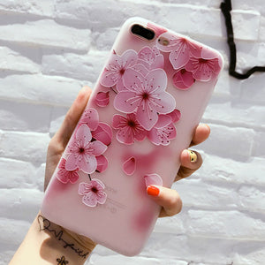 Rose Floral Silicon Phone Case For iPhone 7 8 Plus XS Max XR