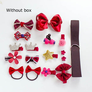 BalleenShiny 18Pcs/set Headwear Set Baby Girls Hairpins Children Headband Bowknot Hot Sale Crown Princess New Hair Accessories
