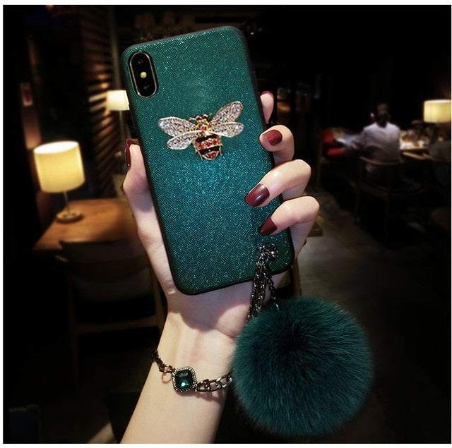Luxury Brand Bee Mobile Phone Case with Fur Ball