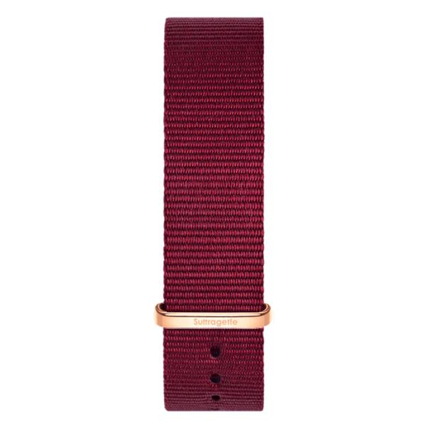 Red fabric watch band with rose gold buckle