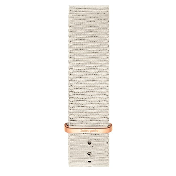 Grey fabric watch band with rose gold buckle