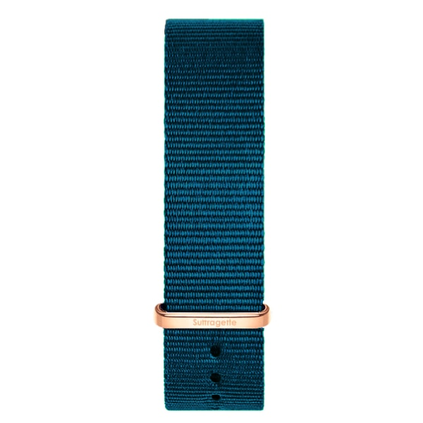 Turquoise fabric watch band with rose gold buckle