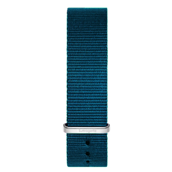 Turquoise fabric watch band with silver buckle