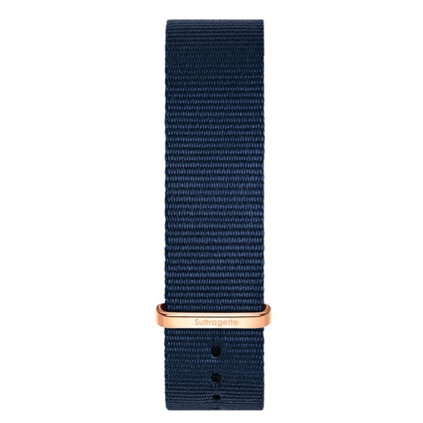 Blue fabric watch band with rose gold buckle