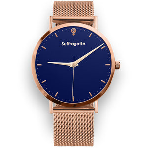 Womens Blue Watch - Rose Gold - Suffragette Kahlo