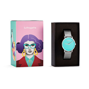 Womens Turquoise Watch - Silver - Suffragette Pankhurst - in Box