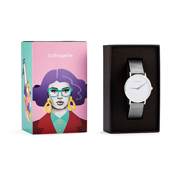 Womens White Watch - Silver - Suffragette Pankhurst - In box