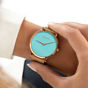 Womens Turquoise Watch - Rose Gold - Suffragette Pankhurst - On wrist