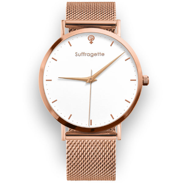 Womens White Watch Rose Gold Suffragette