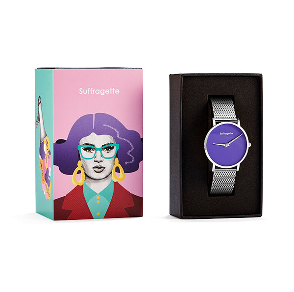 Womens Purple Watch - Silver - Suffragette Pankhurst - In box