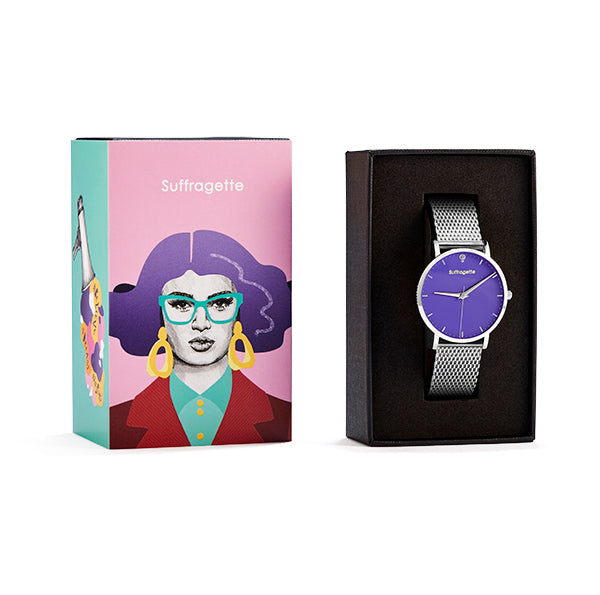 Womens Purple Watch - Silver - Suffragette Kahlo - in box