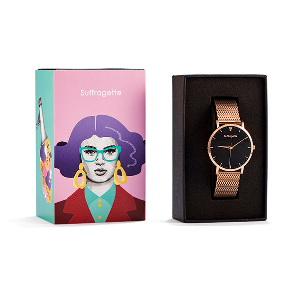 Womens Black Watch - Rose Gold - Suffragette Kahlo - On wrist
