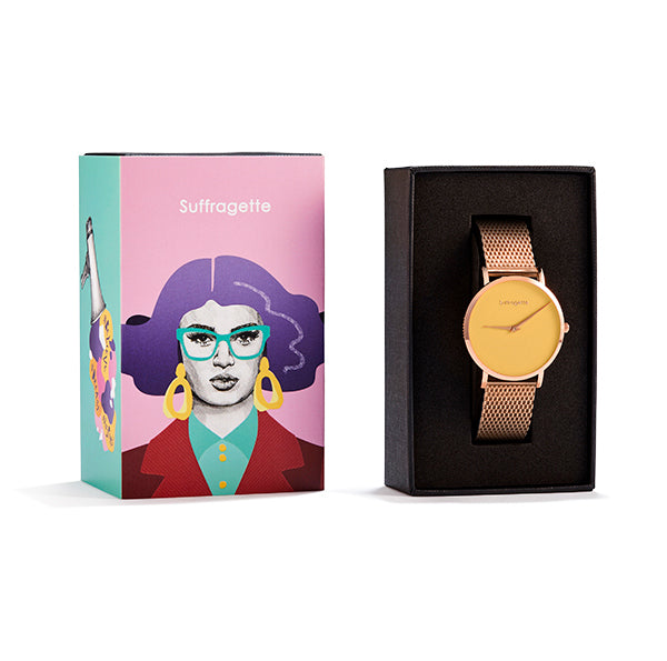Womens Yellow Watch - Rose Gold - Suffragette Pankhurst - in box