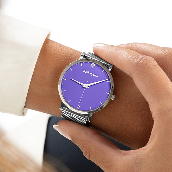 Womens Purple Watch - Silver - Suffragette Kahlo on wrist