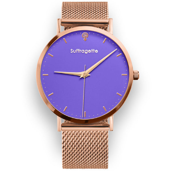 Women's Purple Watch - Rose Gold Band - Suffragette