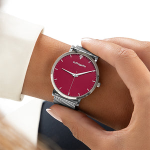 Womens Red Watch - Silver - Suffragette Kahlo - On wrist