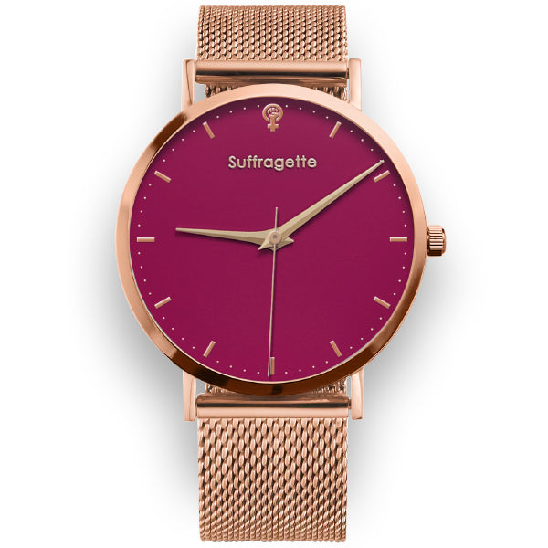 Womens Red Watch - Rose Gold - Suffragette Kahlo - On wrist