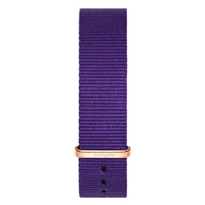 Purple fabric watch band with rose gold buckle