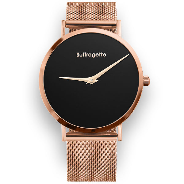 Womens Black Watch - Rose Gold Band - Suffragette