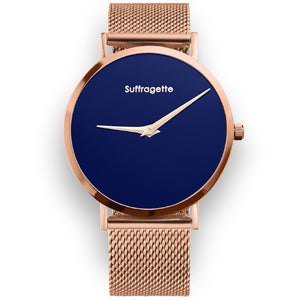 Womens Blue Watch - Rose Gold - Suffragette Pankhurst
