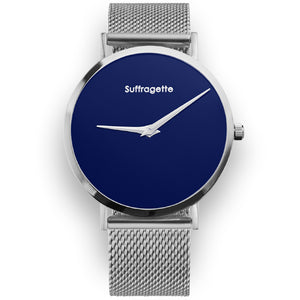 Womens Blue Watch - Silver - Suffragette Pankhurst