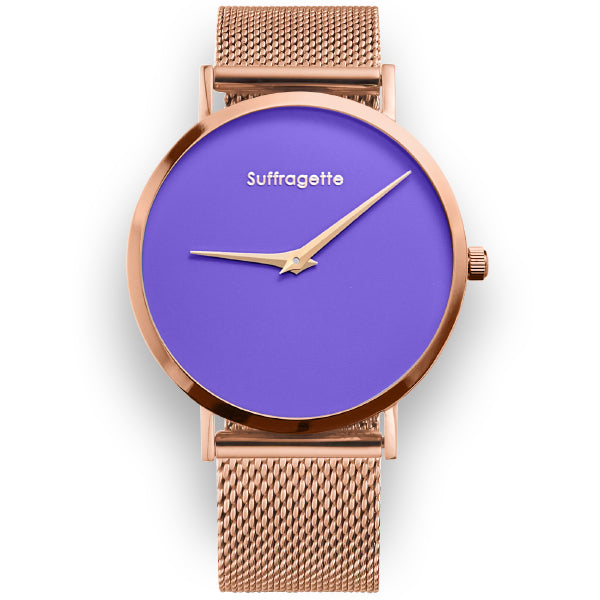 Womens Purple Watch - Rose Gold - Suffragette Pankhurst