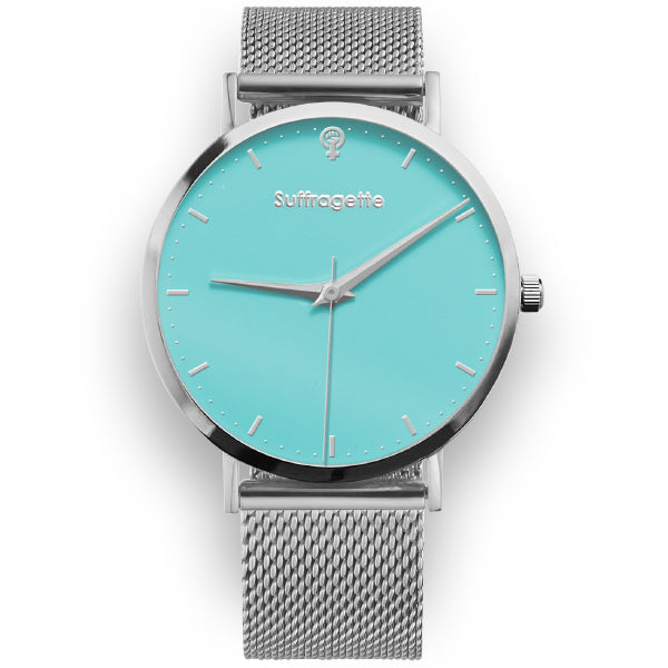 Womens Turquoise Watch - Silver mesh band - Suffragette