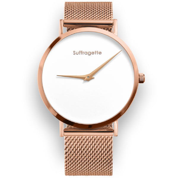 Womens White Watch - Rose Gold - Suffragette Pankhurst