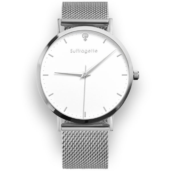 Womens silver watch - silver mesh band - suffragette